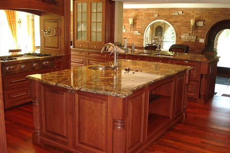 Juparana Wave Granite Kitchen Countertop With An Ogee Bullnose Edge